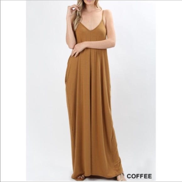 3fe9c852875c Super cute Draped Maxi dress with pockets coffee